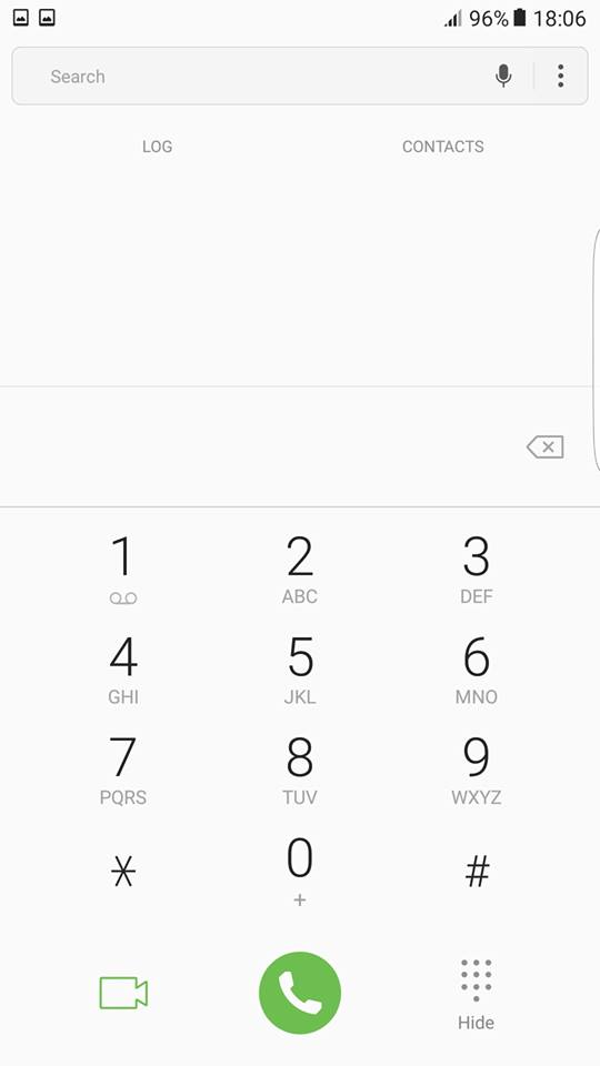 Galaxy S8 keybad screen