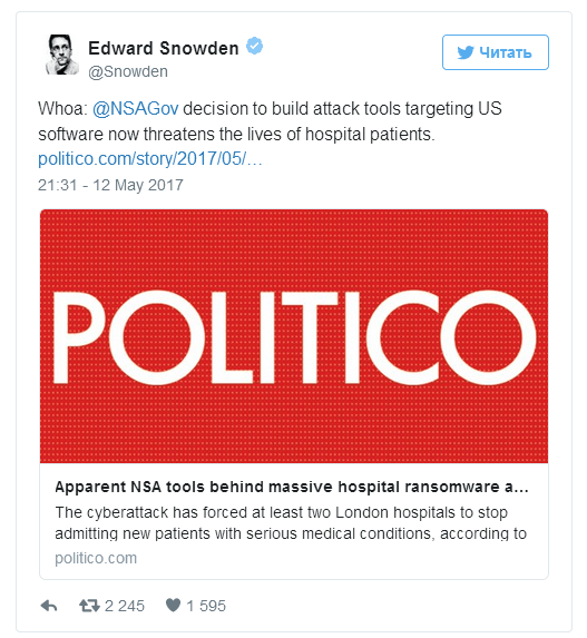 Edward Snowden about ransomware attacks