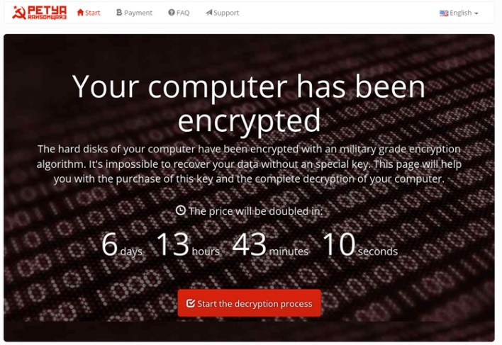 petya ransomware uses dos level lock screen prevents os boot up