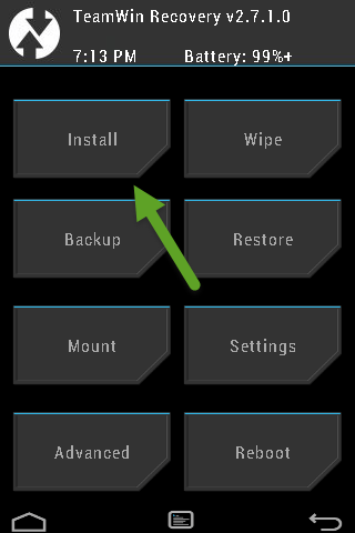 TWRP Recovery Screen