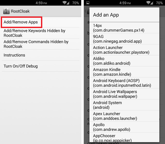 Hide Snapchat from Root using RootCloak Mohamedovic