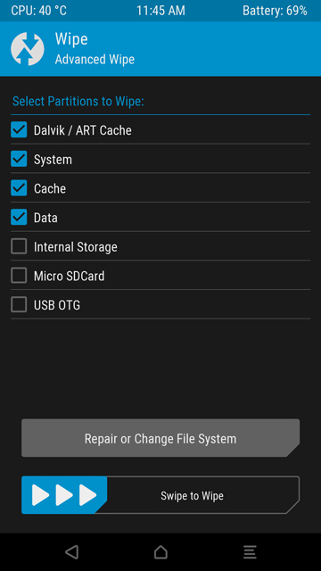 Wipe System Partitions using TWRP Mohamedovic