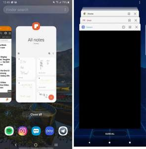 Galaxy Note 9 One UI vs SE Multitasking