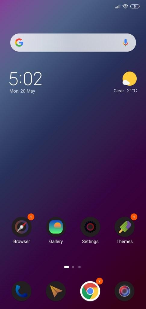 واجهة عرض التطبيقات لثيم IUI Dark TT