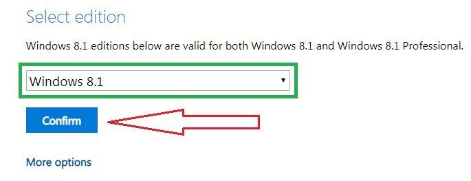 إختيار نسخة ويندوز 8.1 برو المراد تحميلها