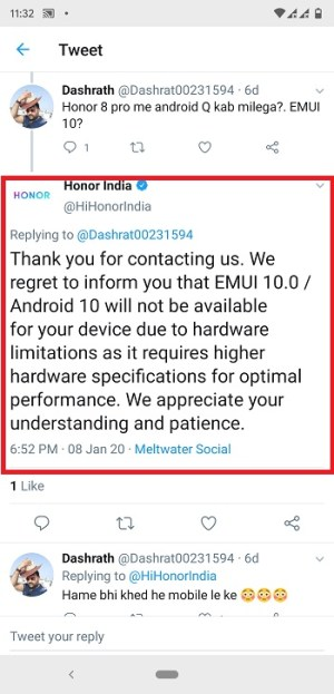 Android 10 Honor 8 Pro update
