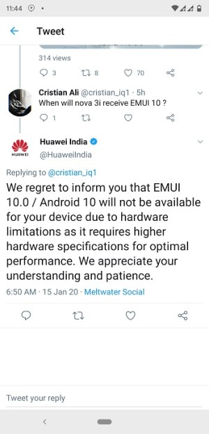 The Android 10 update for the Nova 3i will not officially arrive from Huawei