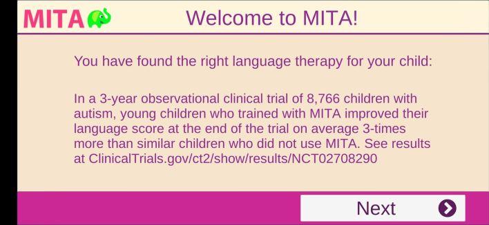 رسالة ترحيبية من تطبيق Language & Cognitive Therapy أحد الألعاب التعليمية