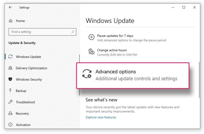 الخيارات المتقدمة في اعدادات تحديثات ويندوز 10