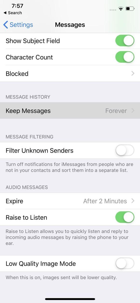حذف الرسائل النصية بشكل تلقائي على الآيفون