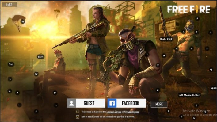 Log in to a Free Fire game account on your computer