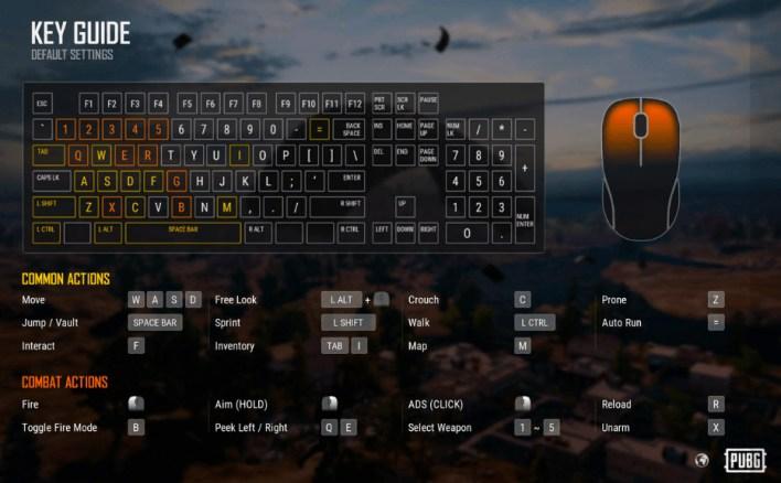 التحكم في لعبة ببجي على الكمبيوتر