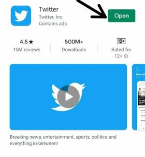 فتح تطبيق تويتر