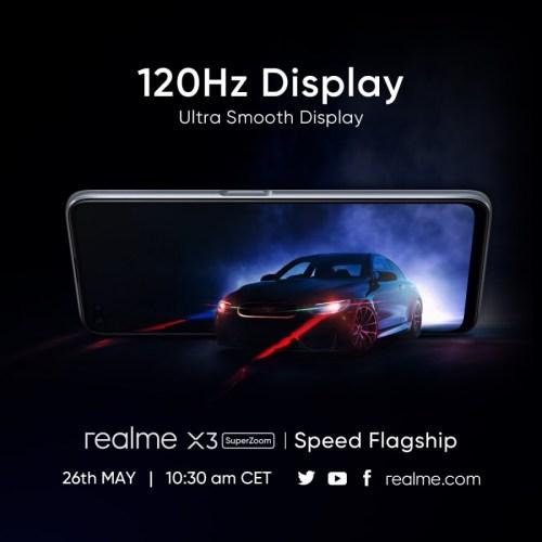 شاشة Realme X3 SuperZoom بمعدل تردد 120 هرتز