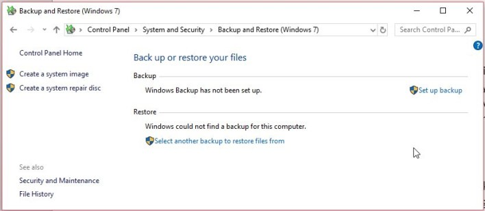 Select another backup to restore files from