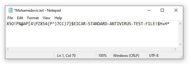 إختبار مكافح الفيروسات على الكمبيوتر