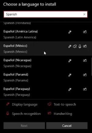 كتابة واختيار اللغة الإسبانية
