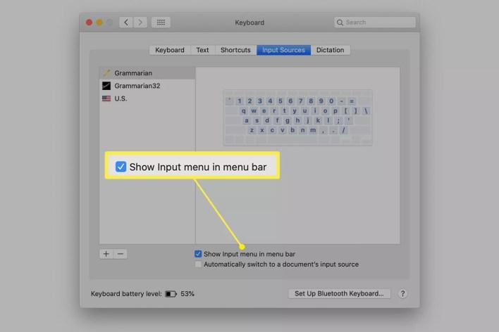 تفعيل Show Input menu in the menu bar