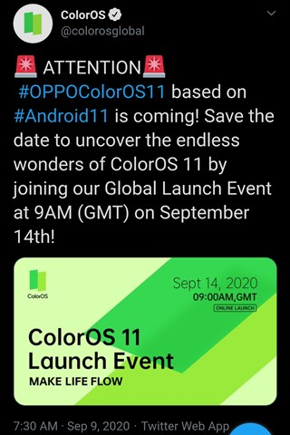 تغريدة أوبو عن تحديث ColorOS 11 القادم على تويتر