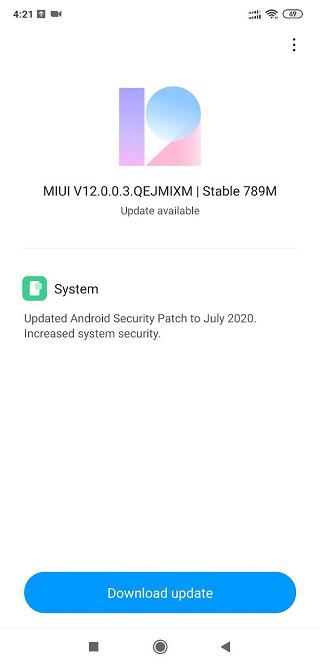 MIUI 12 Poco F1 update