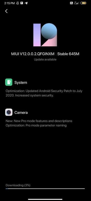 Redmi Note 7 MIUI 12 update