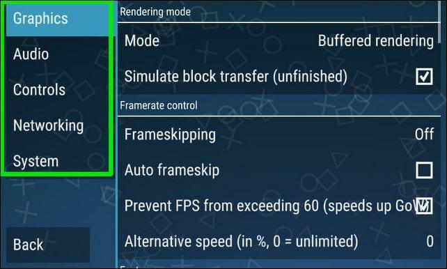 برنامج ppsspp يمنحك الفرصة في التحكم في إعدادات اللعبة