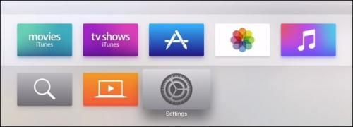 اختيار Settings لمعرفة رقم إصدار Apple TV