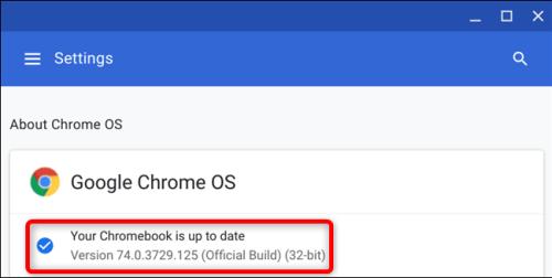تأكيد التحديث في جهاز كروم بوك برؤية كلمة Your Chromebook is up to date