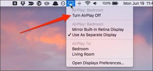إيقاف خاصية Turn AirPlay Off من زر AirPlay الموجود في جهاز الماك