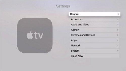 اختار General من أيقونة Settings في جهاز Apple TV