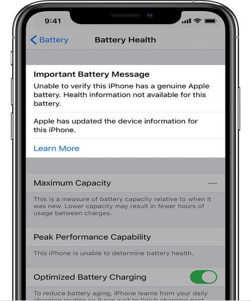 ios13 iphone xs battery unknown