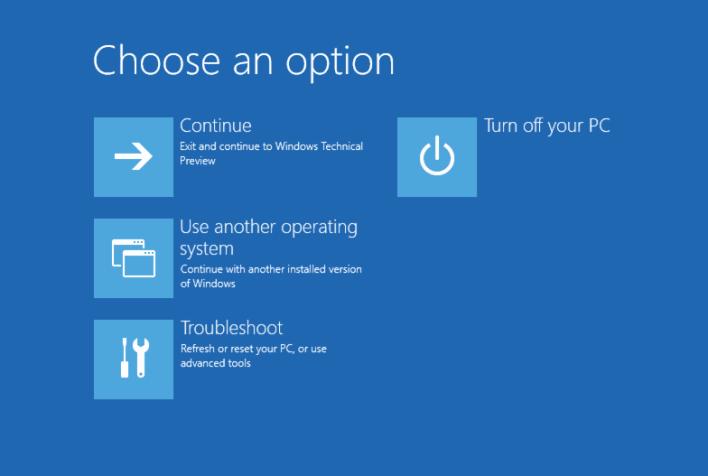 windows boot option