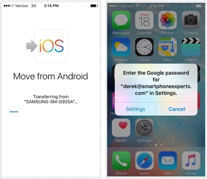البيانات من اندرويد إلى ايفون من خلال تطبيق Move to iOS 6