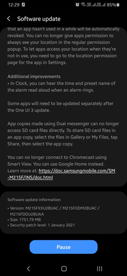 Android 11 Galaxy M21 update