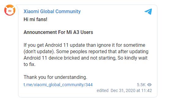 اندرويد 11 تسبب في إيقاف هاتف Mi A3