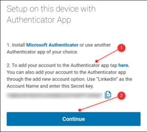 فتح تطبيق المصادقة الخاص بمايكروسوفت ثم الضغط على Continue