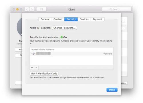 تفعيل Turn on two-factor authentication في سحابة الماك