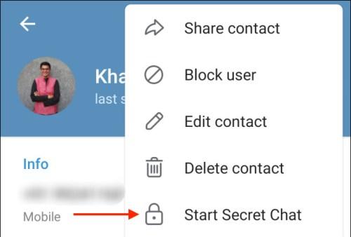 الضغط على Start Secret Chat