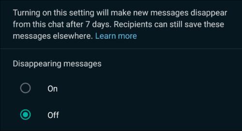 الضغط على ON لتفعيل خاصية Disappearing messages