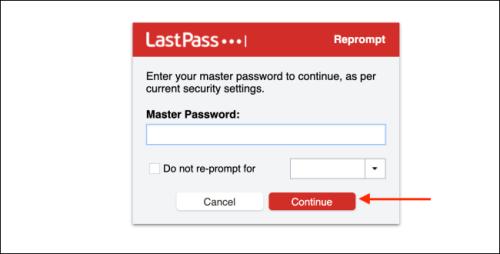 إدخال كلمة السر الخاصة بحسابك في لاست باس والضغط على Continue