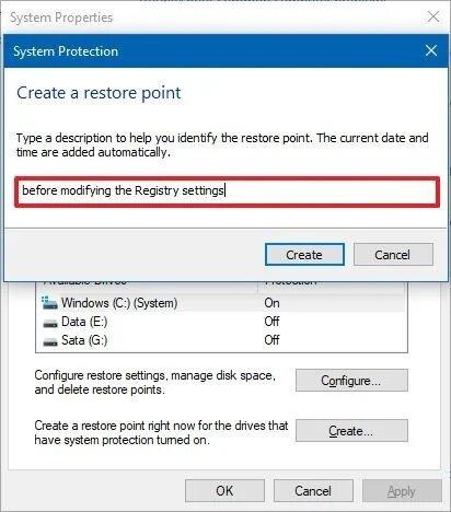 عمل نقطة استعادة النظام ويندوز 10 خاصية Restore Point 4