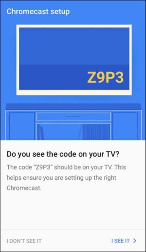 الضغط على I See It لتأكيد رمز التلفاز