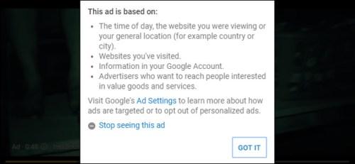 الضغط على Stop seeing this ad لوقف ظهور الإعلان مرة ثانية