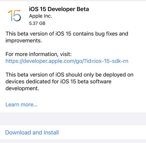 تحديث iOS 15 التجريبي للايفون