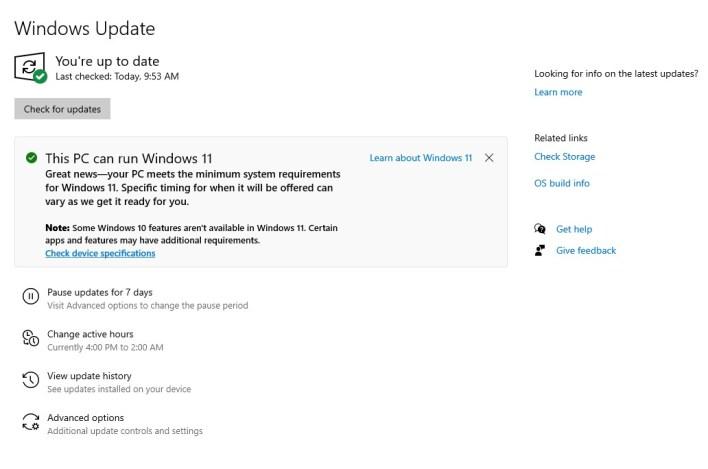 التأكد من دعم جهازك لتشغيل ويندوز 11 من صفحة تحديثات النظام