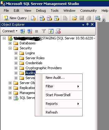 Create Database Audit 1