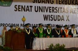 Prosesi lokasi wisuda Universitas Azzahra, Kamis (2/6) di Halim, Jakarta.