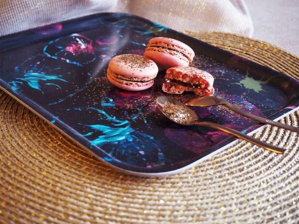 plateau trays the tea macarons moment detente cuillere cuivre maison du monde motif pattern mohanita creations set doré