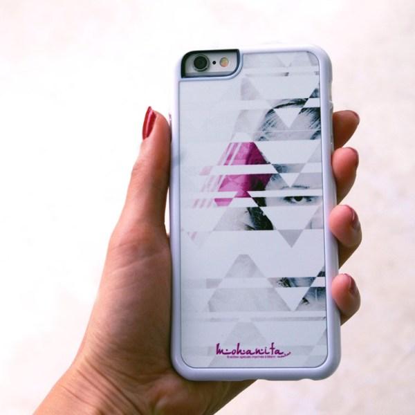 coque iPhone 6 et iPhone 6s tendance moderne originale pour femme pas chere girly noir et blanche rose géométrique photo