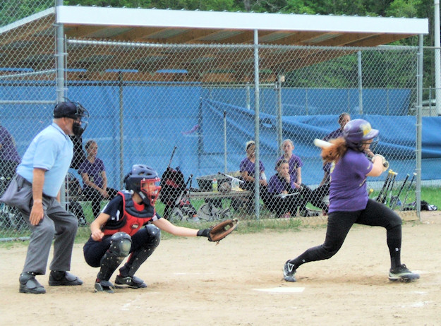 Ashley Pryzbylowicz hits a single early in the game